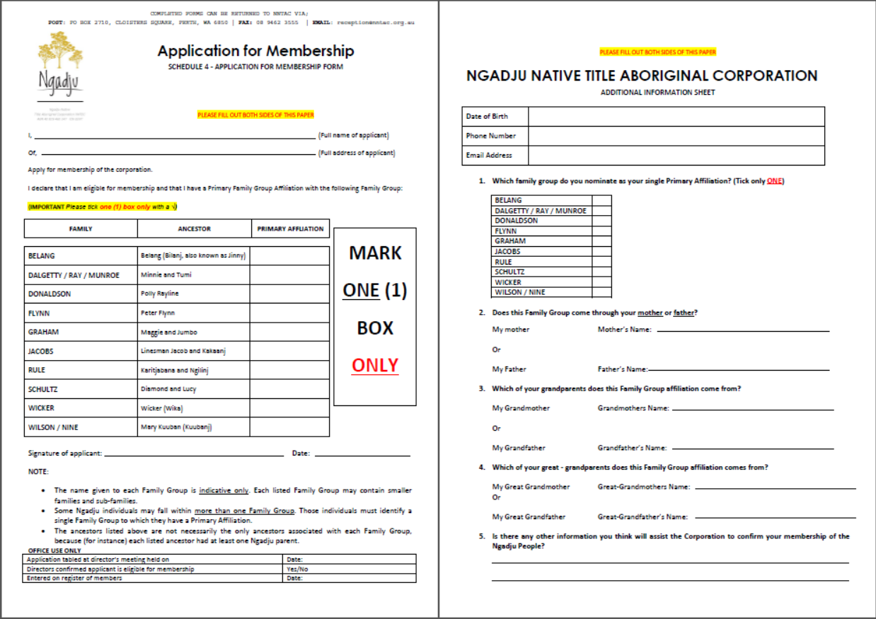 NNTAC Application for Membership form