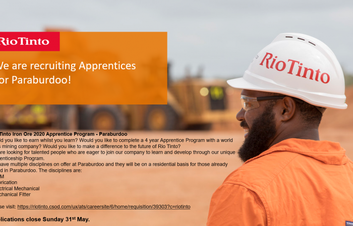 We're Recruiting | Rio Tinto Iron Ore  2020 Apprenticeship Program and more!
